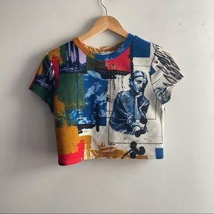 Urban Outfitters blue white print Rome crop tshirt